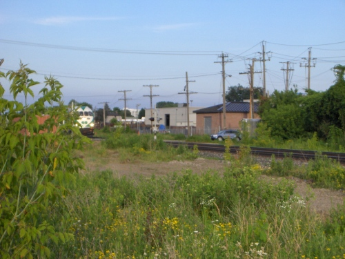 A GO train trundles out of St Catharines toward Toronto.